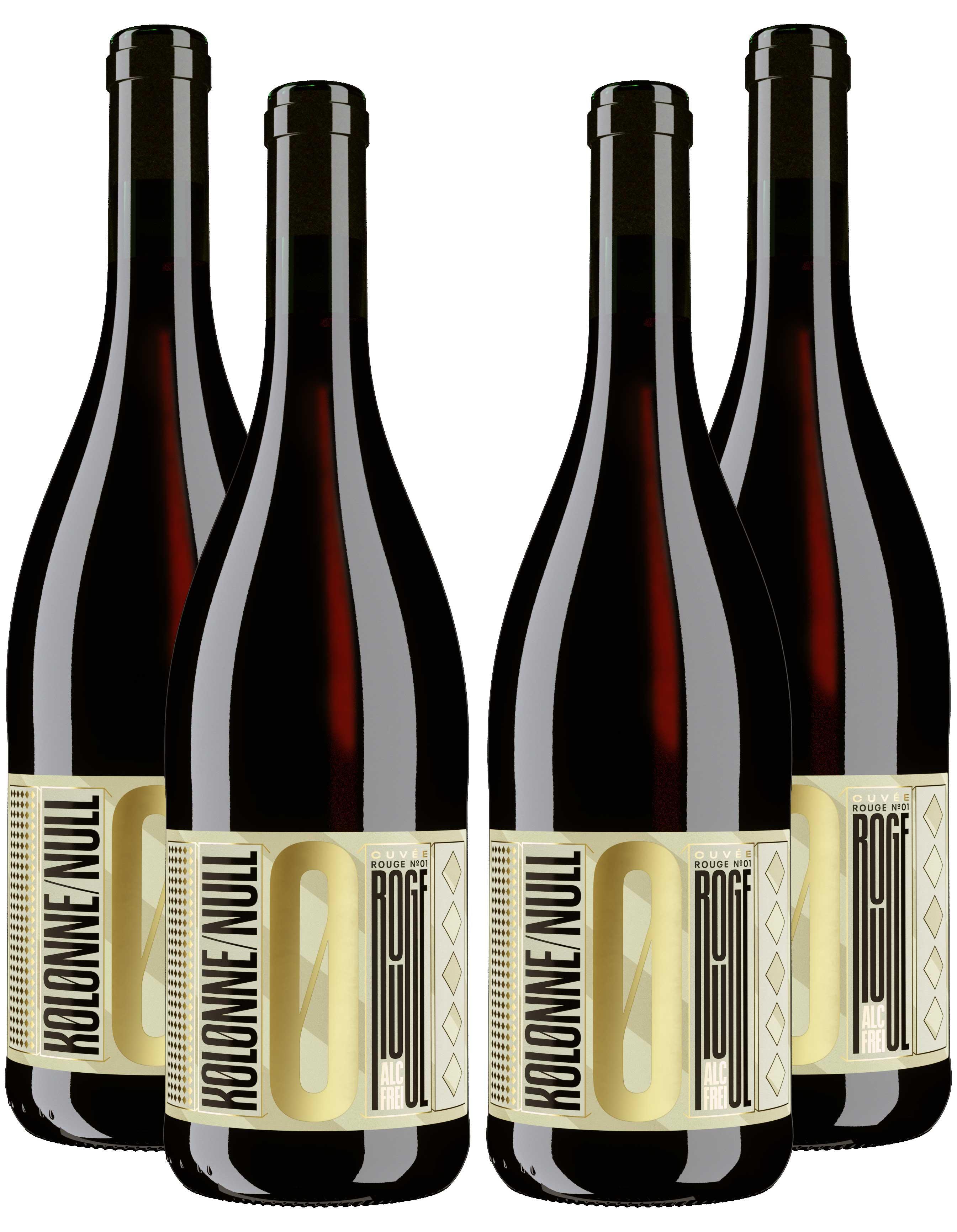 Kolonne Null Rouge 4er Set Alkoholfreier Rouge Cuvee N°2 Rotwein mit Korken 4x0,75L