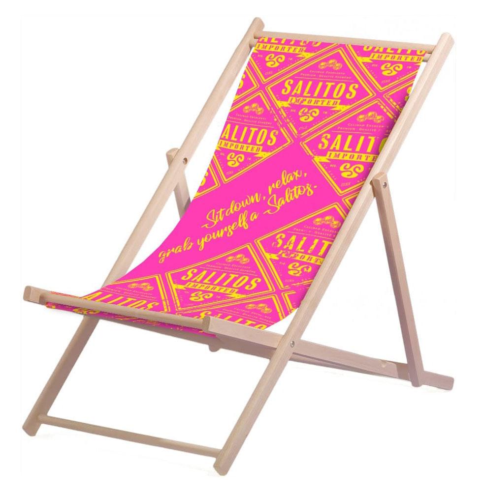 Salitos Liegestuhl Pink aus Buchenholz dreifach verstellbar Beach Party Festival Sommer Relaxliege Garten Sonnenliege Strandliege