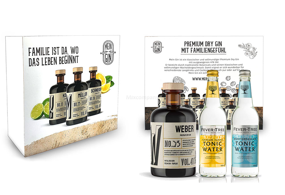 Mein Gin + Tonic Giftbox Geschenkset - Weber Premium Dry Gin 0,5l (41% Vol) - Weber s Gin No.25 + 1x Fever-Tree Indian Tonic Water + 1x Fever-Tree Mediterranean Tonic Water a 500ml inkl. Pfand MEHRWEG -[Enthält Sulfite]