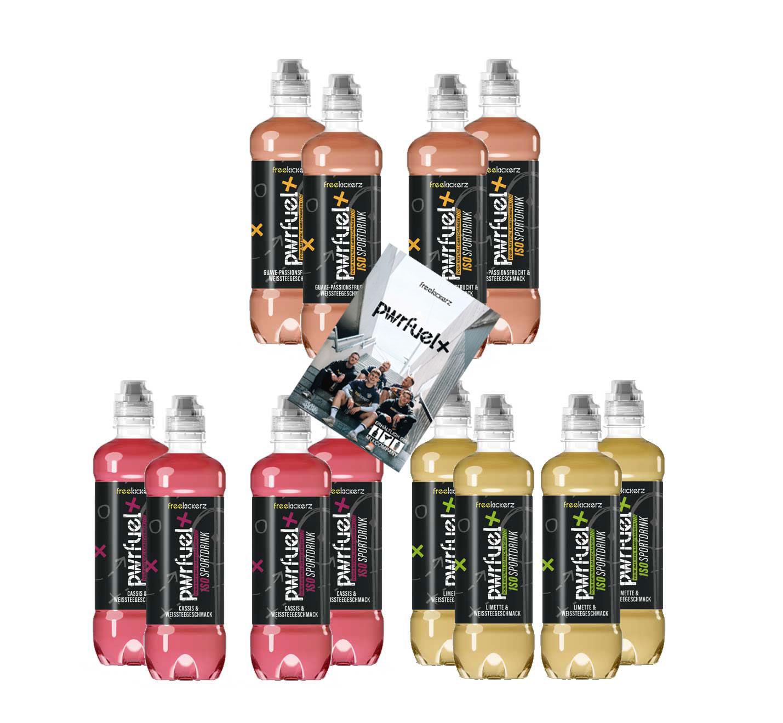 Pwrfuel 12er Tasting Set mit Autogrammkarte - Freekickerz Pwrfuel 4x Cassis + 4x Guave-Passionsfrucht + 4x Limette 12x 500ml Power Iso Sportdrink inkl. Pfand EINWEG