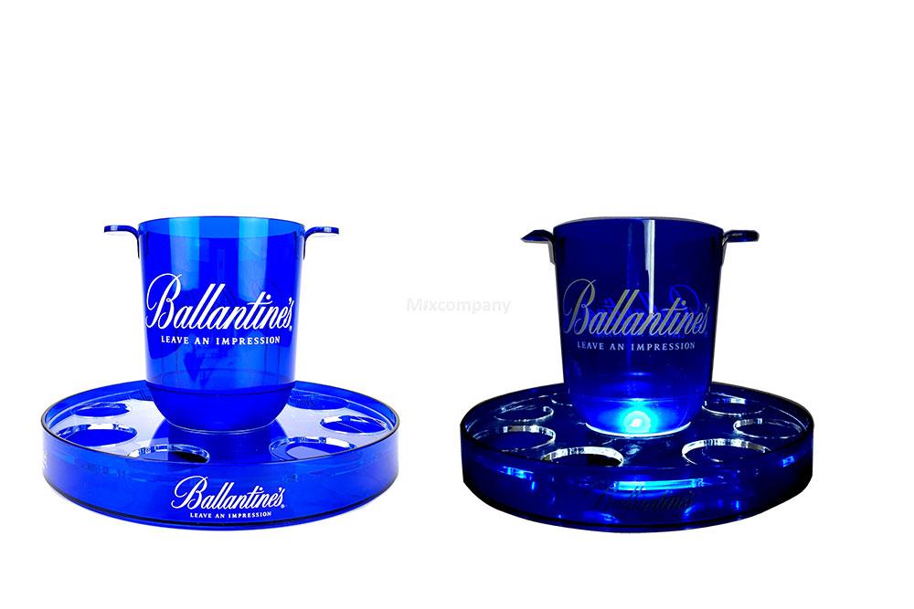 Ballentines Kühler / Eisbox / Falschenkühler mit beleuchteter Halterung in Blau