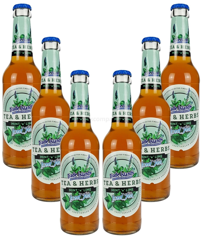 Trade Island Tea & Herbs Mint Lime Ice Tea - Minz Limette Eistee - 6x330ml = 1980ml - Inkl. Pfand MEHRWEG