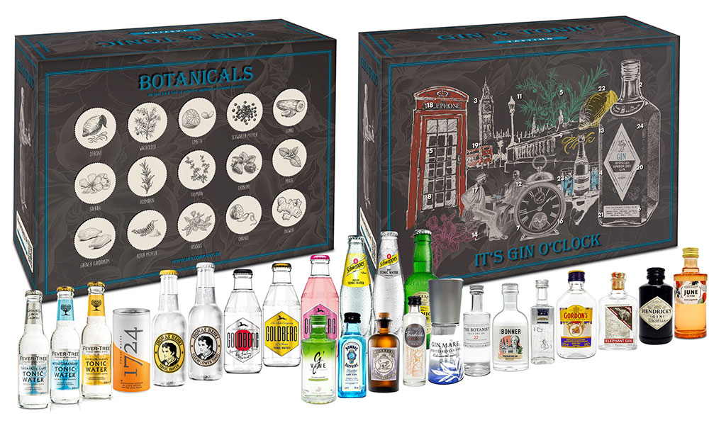Gin Tonic Tasting Set Probierset - 12x Verschiedene Gin Sorten + 12x Verschiedene Tonic Sorten in Exklusive Mixcompany Tasting Box - NEU