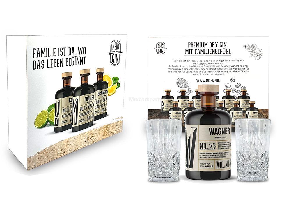 Mixcompany Geschenkset - Mein Gin Set - Wagner No 25 Gin 0,5L (41% Vol) + 2x Longdrink Glas in Kristall optik- [Enthält Sulfite]