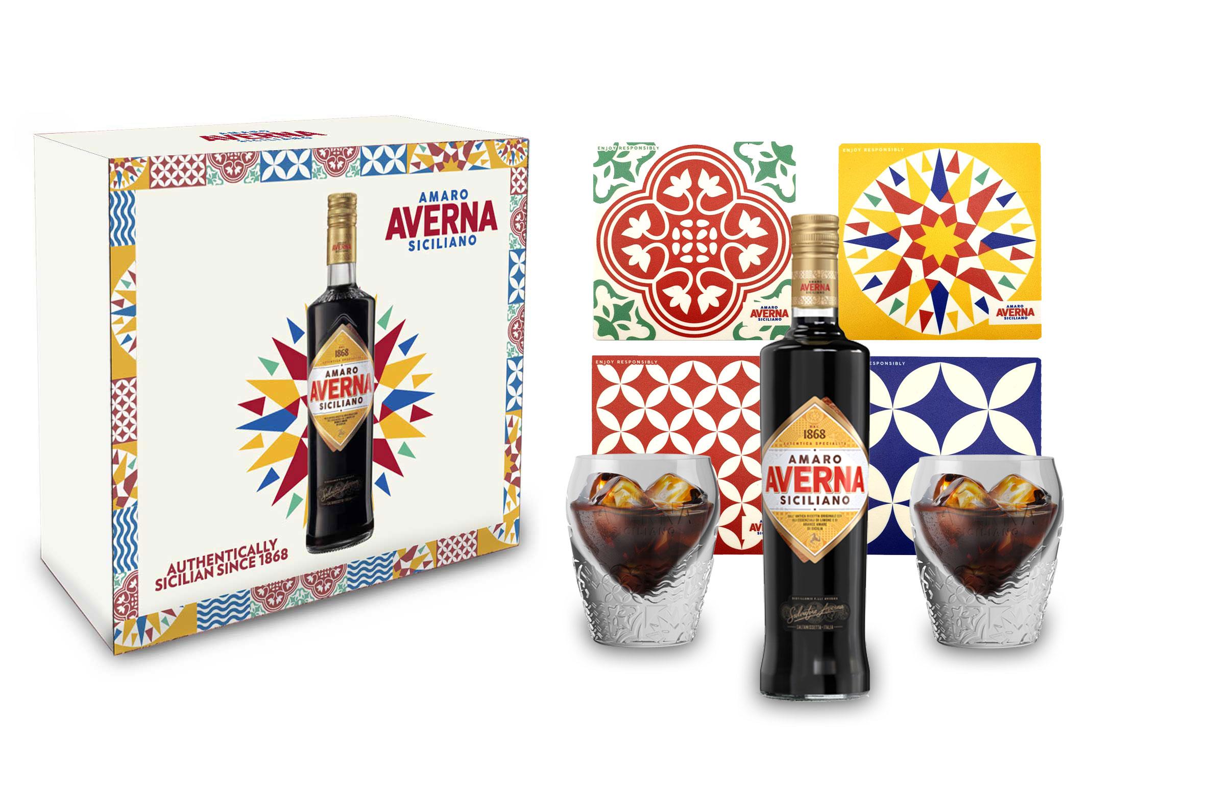 Averna Geschenkset - Averna Amaro Siciliano 0,7L (29% Vol) Schuber 2x Gläser + 4x Untersetzer + Giftbox - [Enthält Sulfite]
