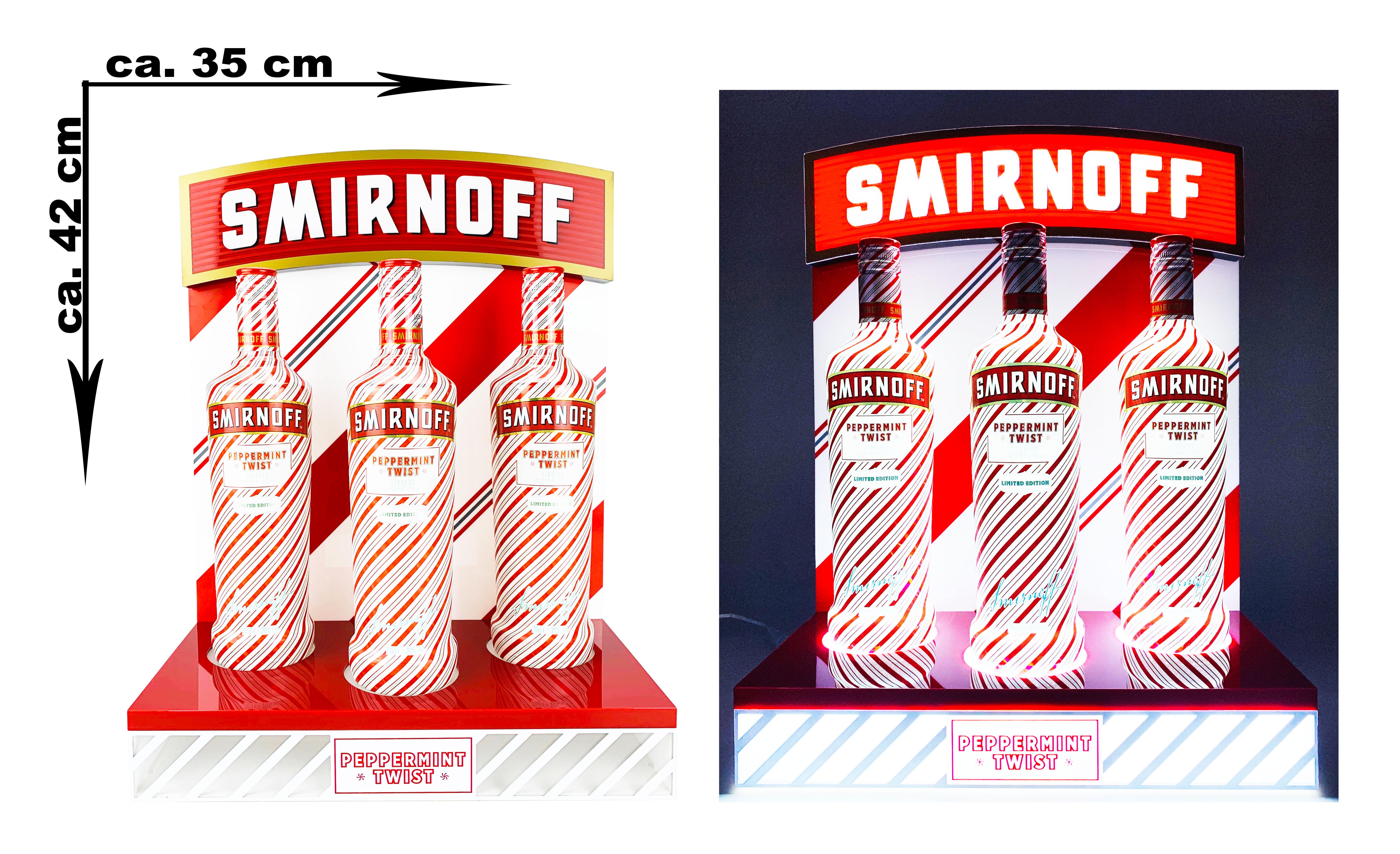 Smirnoff Wodka Vodka Leuchtschild Werbeschild OHNE FLASCHEN Werbetafel Leuchtreklame LED Beleuchtet mit Netzteil - ca. 42 x 35cm