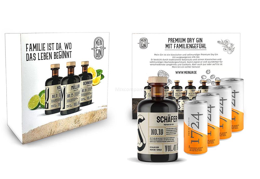 Mein Gin + Tonic Giftbox Geschenkset - Schäfer Premium Dry Gin 0,5l (41% Vol) - Schäfer s Gin No.19 + 4x 1724 Tonic Water Dose 200ml inkl. Pfand EINWEG -[Enthält Sulfite]