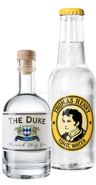 Gin Tonic Probierset - The Duke Munich Dry Gin 50ml (45% Vol) + Thomas Henry Tonic Water 200ml inkl. Pfand MEHRWEG