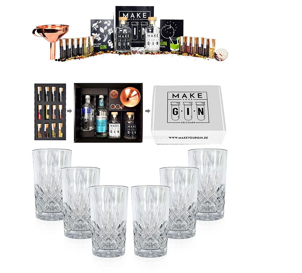 Longdrinkglas in Kristall Optik 6er Set Gläser + Make Your Gin Geschenkset weiß Geschenkbox Gin zum Selbermachen - Absolut Vodka, Fever-Tree Mediterranean Tonic Water 500ml + Botanicals + Bar Trichter + Anleitung mit Rez