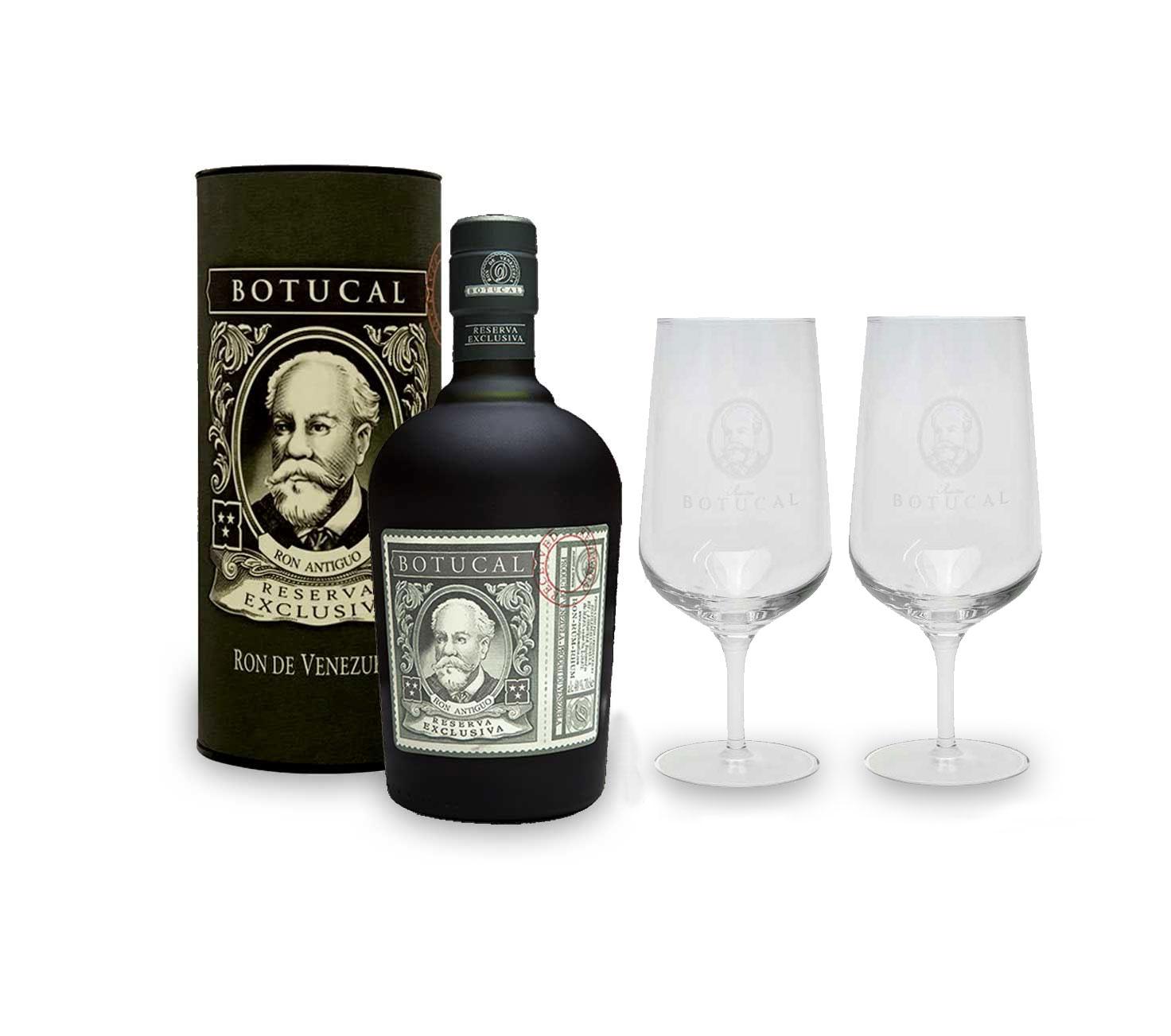 Botucal Reserva Exclusiva Rum mit Geschenkverpackung mit 2 Botucal Nosing Gläser 0,70l (40% Vol) Ron de Venezuela Glas Longdrinkglas - Set - [Enthält Sulfite]