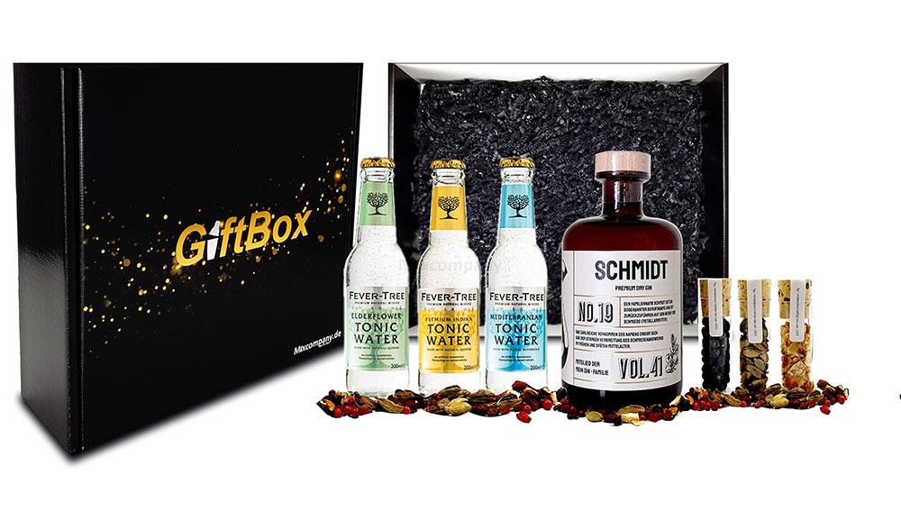 Gin Tonic Giftbox - Mein Gin + Tonic + Botaniclas / Schmidt Premium Dry Gin No19 0,5l (41% Vol) + 3x verschiedene Fever-Tree Tonic Water 200ml (inkl. Pfand MEHRWEG) + 3x Premium Botanicals