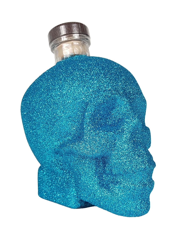 Crystal Head Vodka Mini 50ml (40% Vol) Bling Bling Glitzerflasche - blau -[Enthält Sulfite]