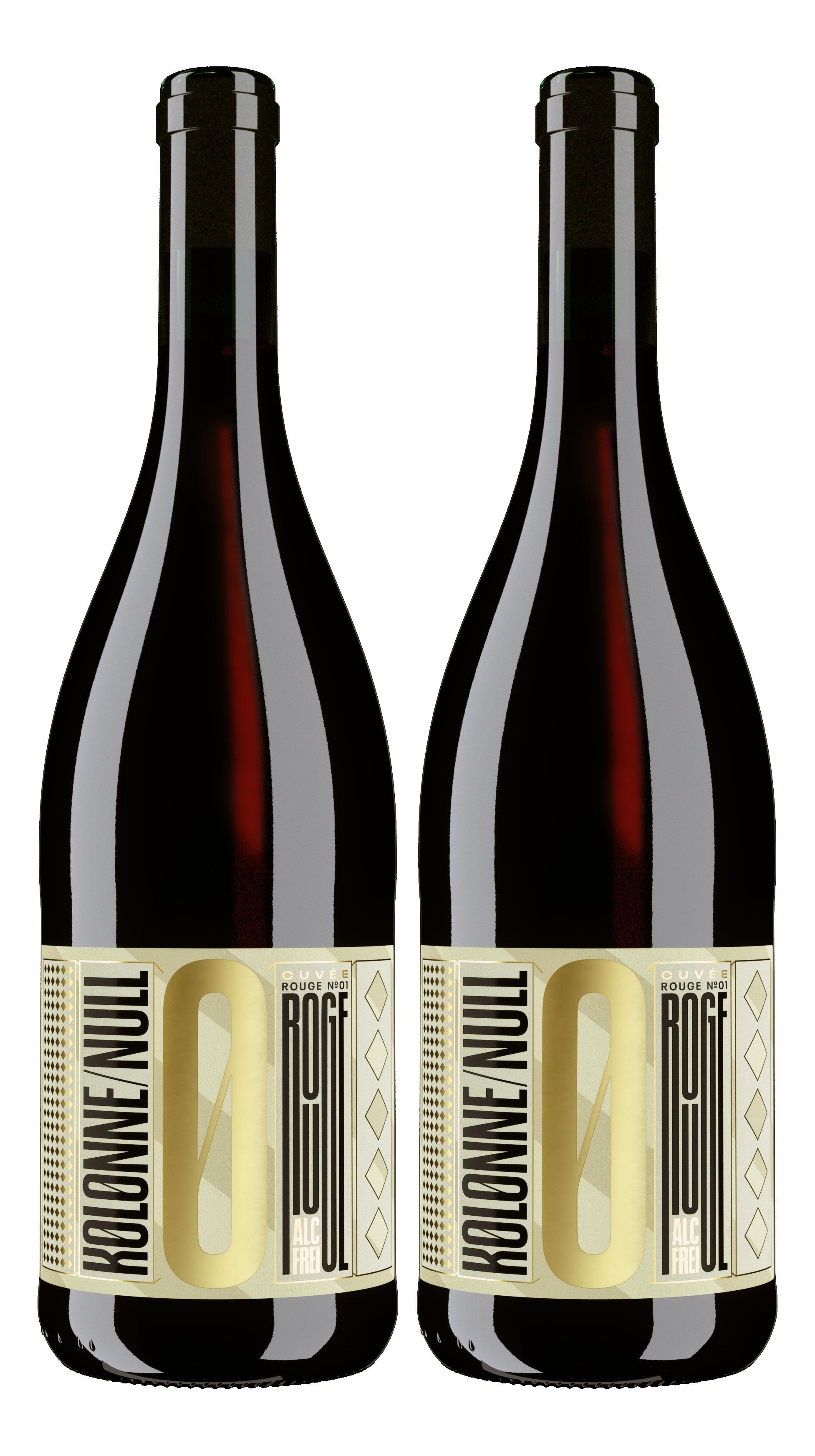 Kolonne Null Rouge 2er Set Alkoholfreier Rouge Cuvee N°2 Rotwein mit Korken 2x0,75L