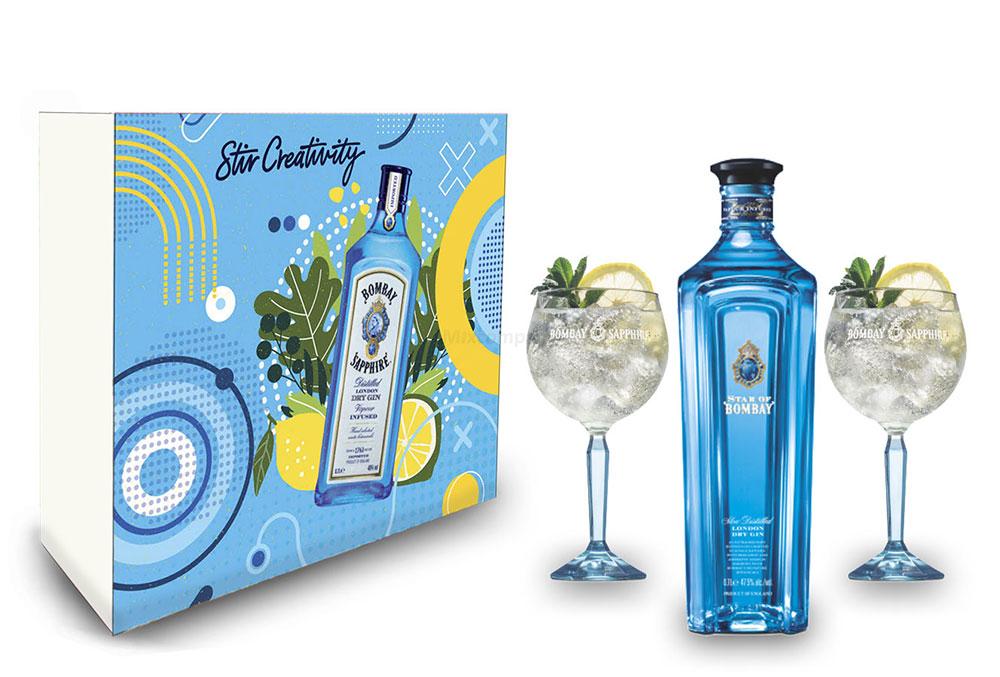 Star of Bombay Geschenkset - Star of Bombay London Dry Gin 0,7l (47,5% Vol) + 2er Set Ballon Glas / Gläser- [Enthält Sulfite]