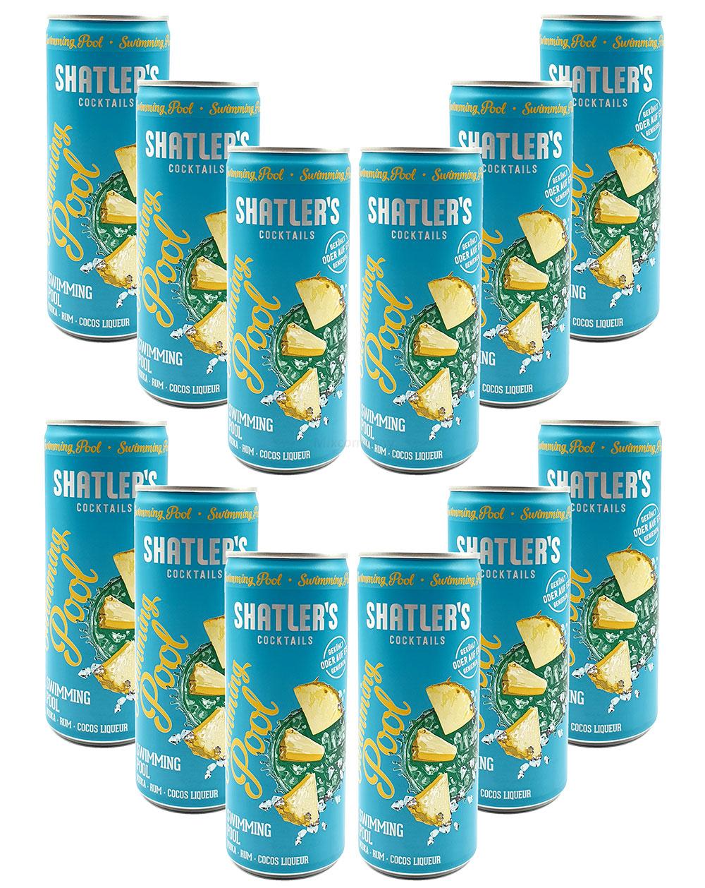 Shatlers Cocktail - 12er Set Shatlers Swimmingpool 0,25L (10,1% Vol) inklusive Pfand EINWEG - Shatlers Cocktail - Ready to Go- [Enthält Sulfite]