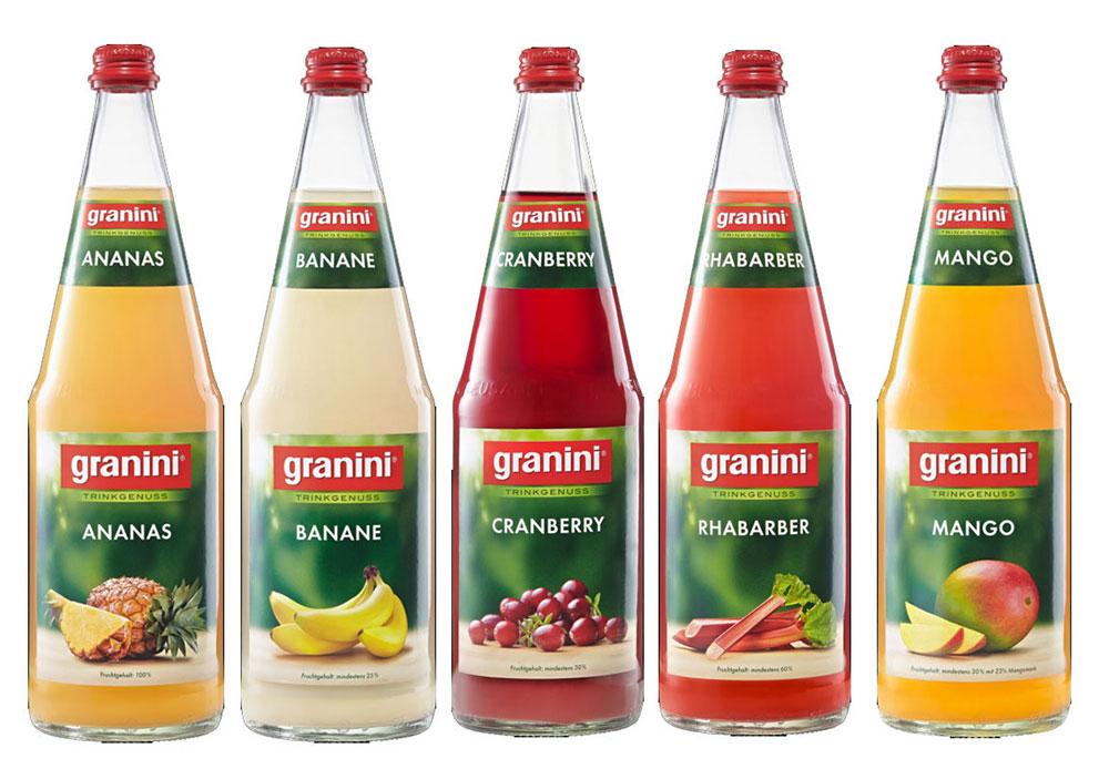 Granini Saft Tasting 5er Set - 1x Ananas + 1x Banane + 1x Cranberry + 1x Rhabarber + 1x Mango je 1L inkl. Pfand MEHRWEG