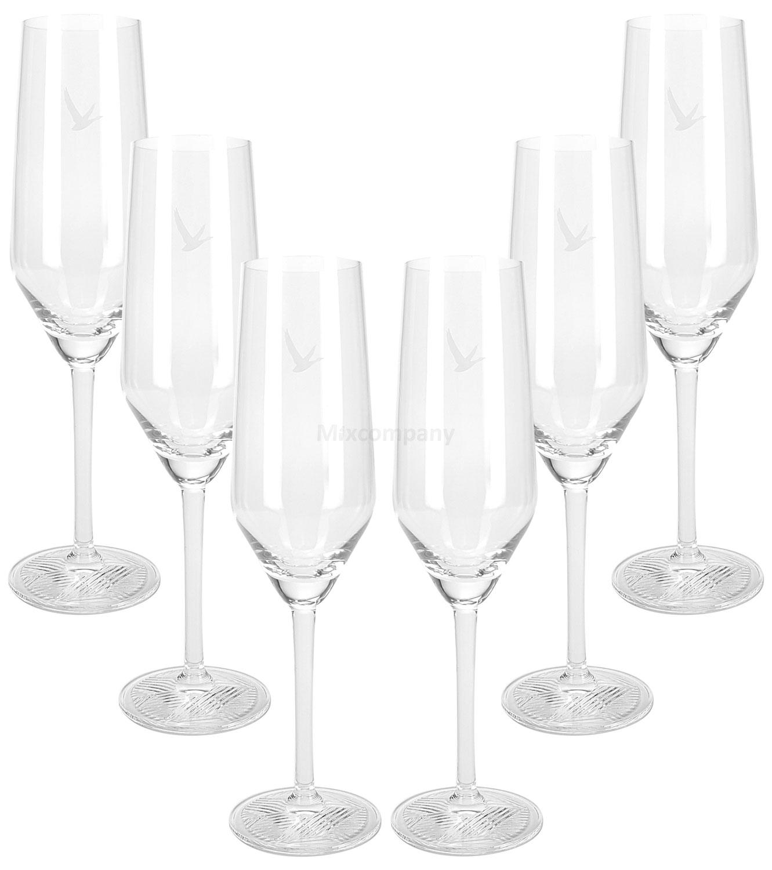Grey Goose Vodka Glas Gläser Set - 6x Flöten Gläser