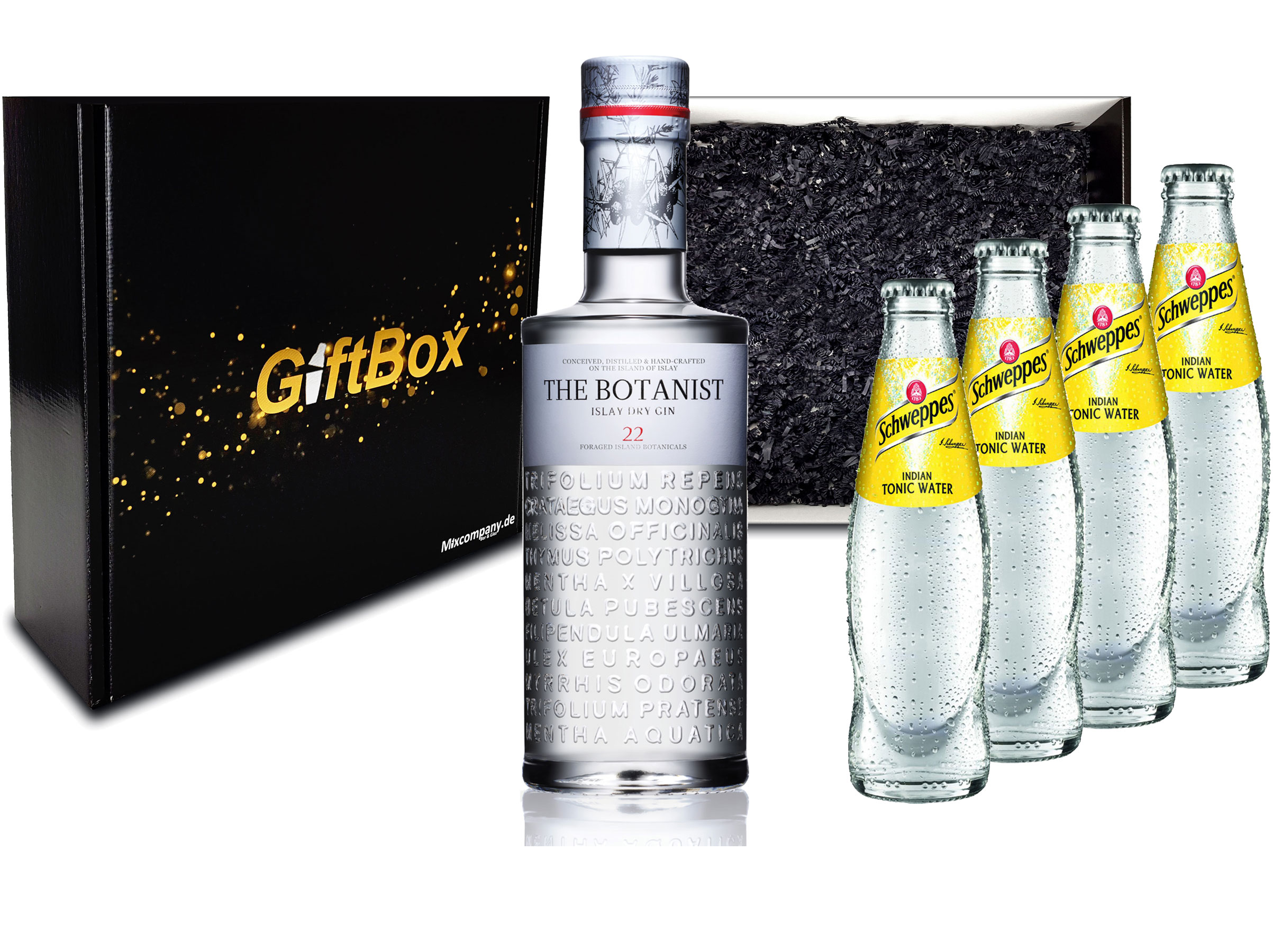 Gin Tonic Giftbox Geschenkset - The Botanist Islay Dry Gin 0,7l 700ml (46% Vol) + 4x Schweppes Tonic Water 200ml inkl. Pfand MEHRWEG + Geschenkverpackung
