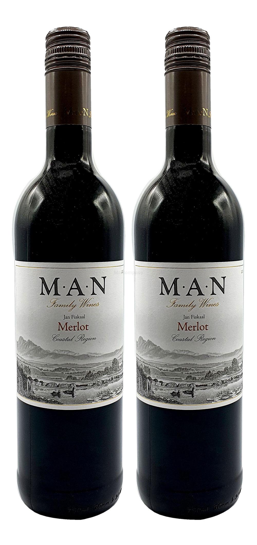 MAN Rotwein - 2er Set - 2x 0,75L (14% Vol) - Jan Fiskaal Merlot - Südafrika- [Enthält Sulfite]