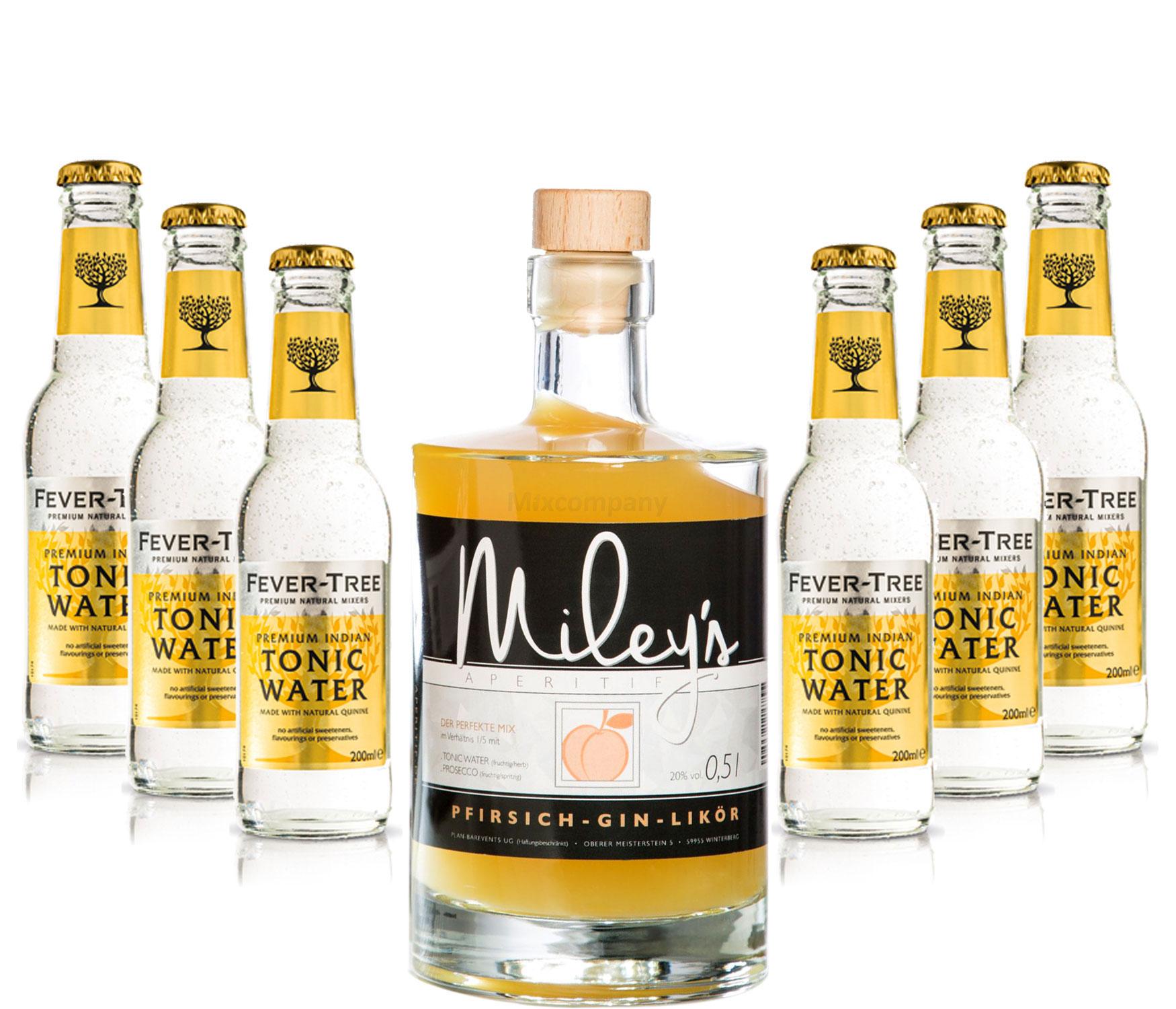 Mileys Pfirsich Gin Likör 0,5l (20% Vol) + 6x Fever Tree Tonic Water 200ml inkl. Pfand MEHRWEG -[Enthält Sulfite]