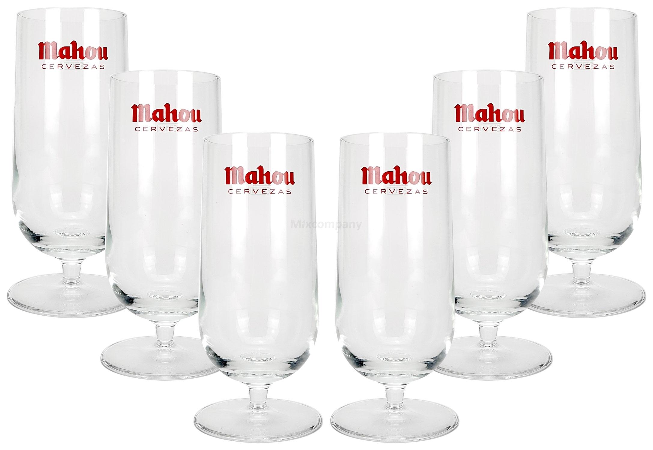 Mahou Glas Bierkelch Bierglas Gläser Set - 6x Kelche 0,33l geeicht