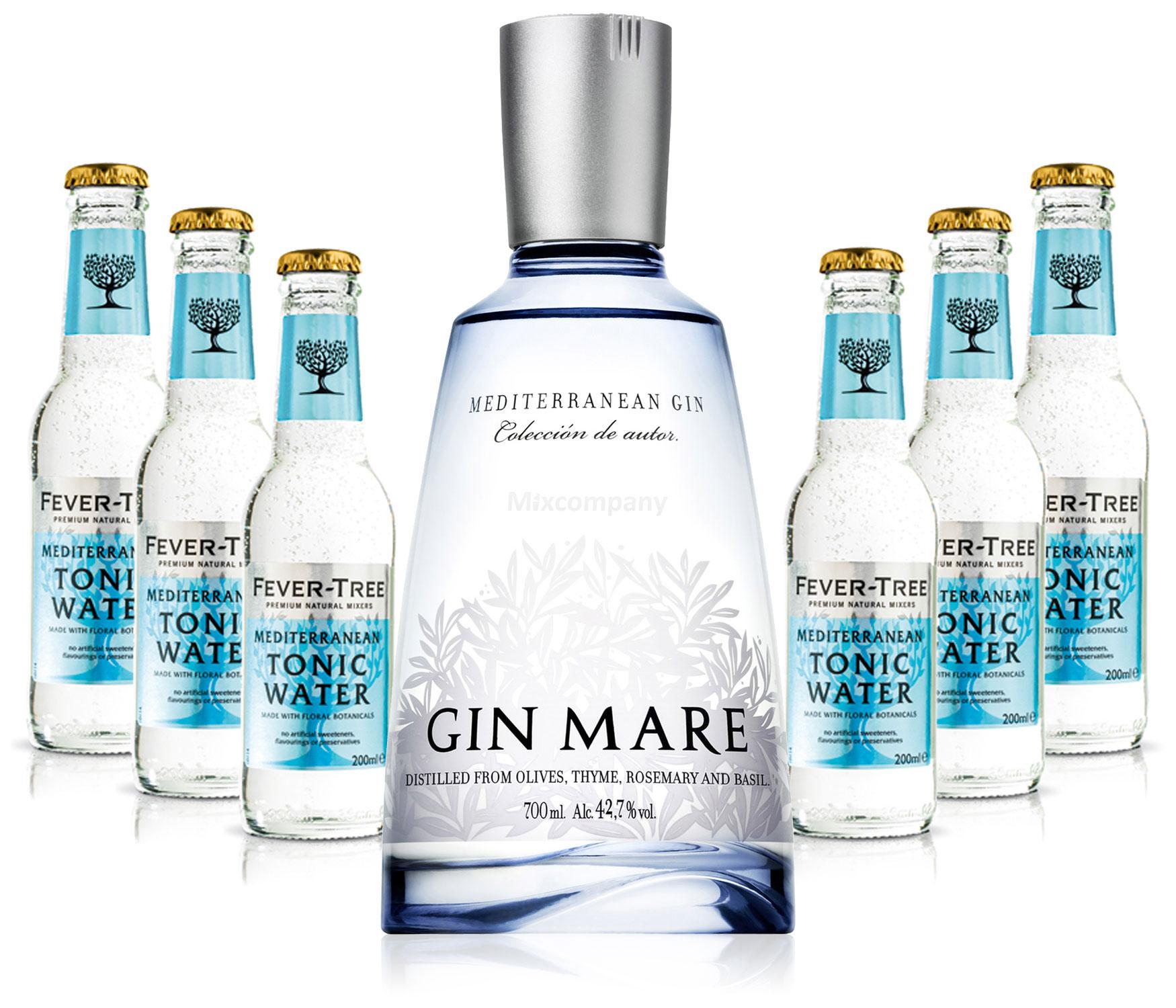 Gin Tonic Set - Gin Mare 0,7l 700ml (42,7% Vol) + 6x Fever Tree Mediterranean Tonic Water 200ml - Inkl. Pfand MEHRWEG