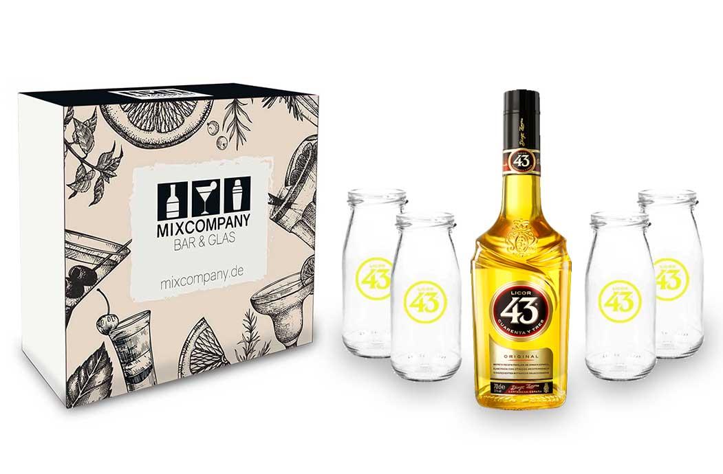 Licor 43 Set / Geschenkset - Licor 43 Liqueur 07L (31% Vol) + 4x Blanco 43 Gläser Likör Liquor 43er