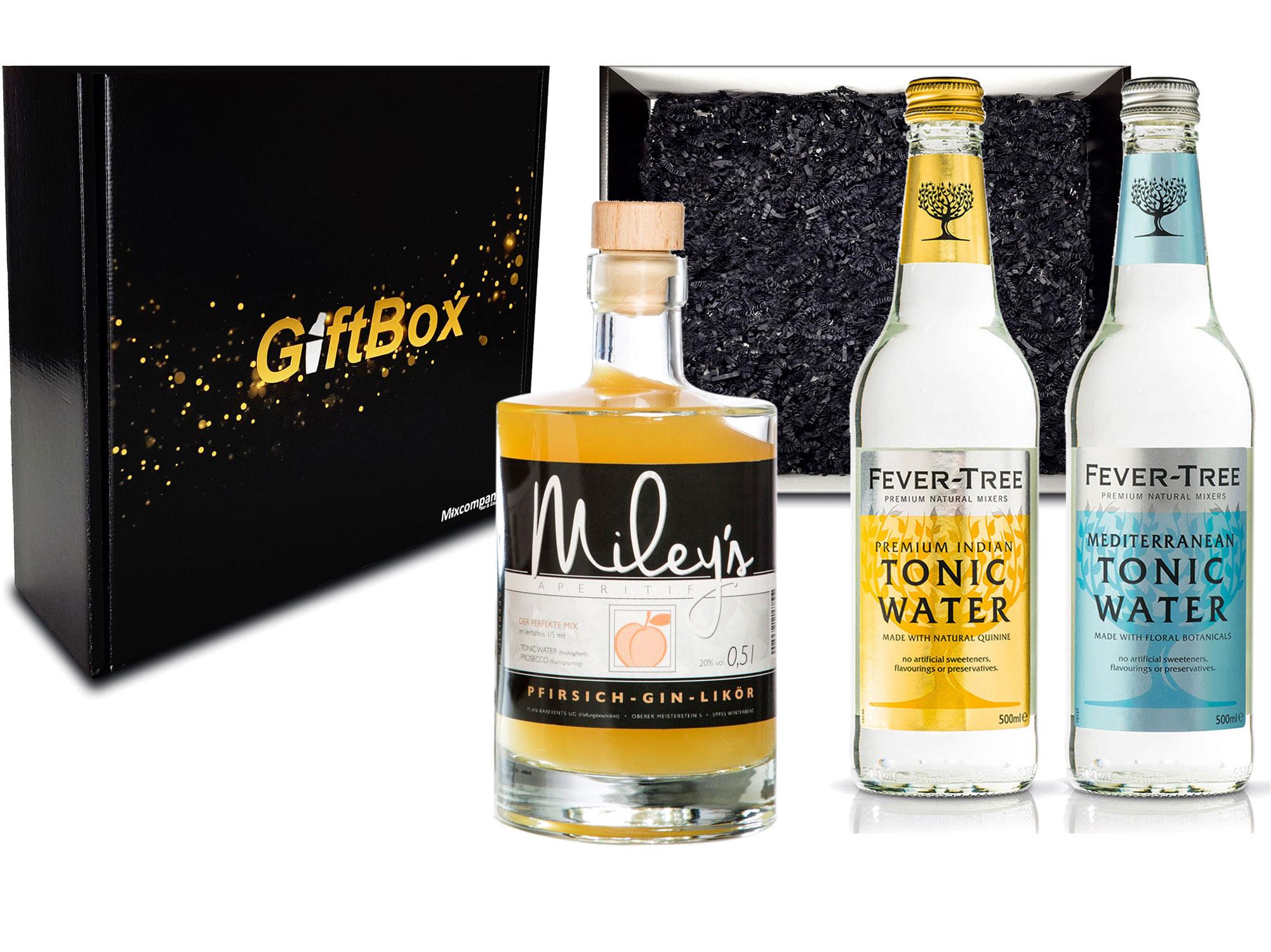 Gin Tonic Giftbox Geschenkset - Mileys Pfirsich Gin Likör 0,5l (20% Vol) + 2x Fever Tree Tonic Water Mix je 200ml inkl. Pfand MEHRWEG - [Enthält Sulfite]