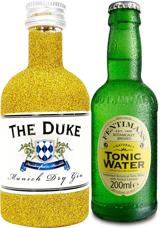 Gin Tonic Bling Bling Mini Probierset - The Duke Munich Dry Gin 50ml (45% Vol) Glitzerflasche Gold + Fentimans Tonic Water 200ml inkl. Pfand MEHRWEG -[Enthält Sulfite]