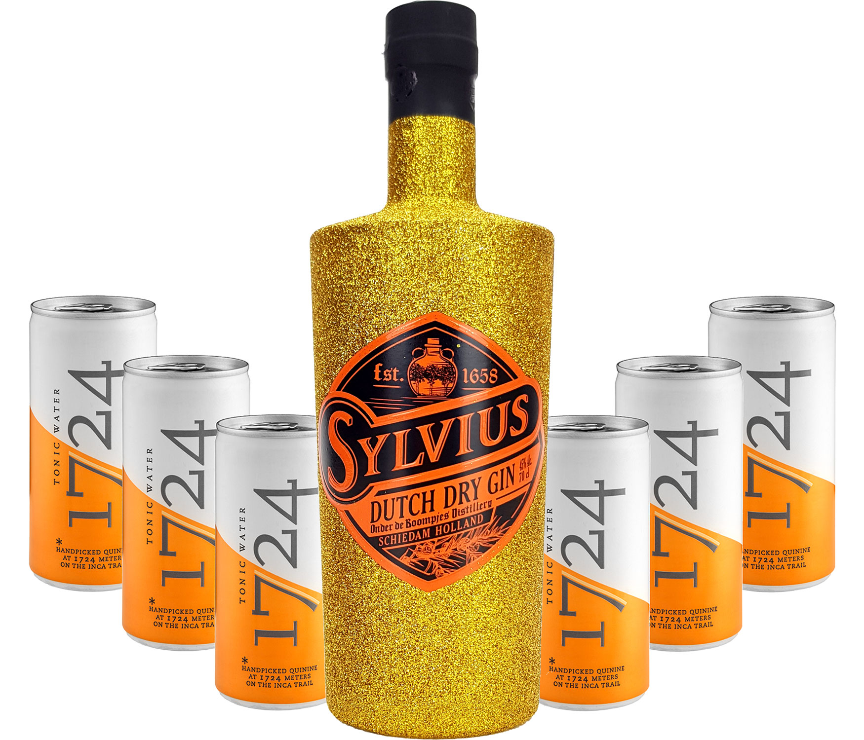 Gin Tonic Bling Bling Gold Glitzer Set Geschenkset - Sylvius Dutch Gin 0,7l 700ml (45% Vol) + 6x 1724 Tonic Water Dosen 200ml inkl. Pfand EINWEG -[Enthält Sulfite]