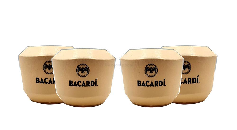 Bacardi Mehrweg 4x Becher - 4er Set Becherin Beige - Kokosnussform / Kunststoff