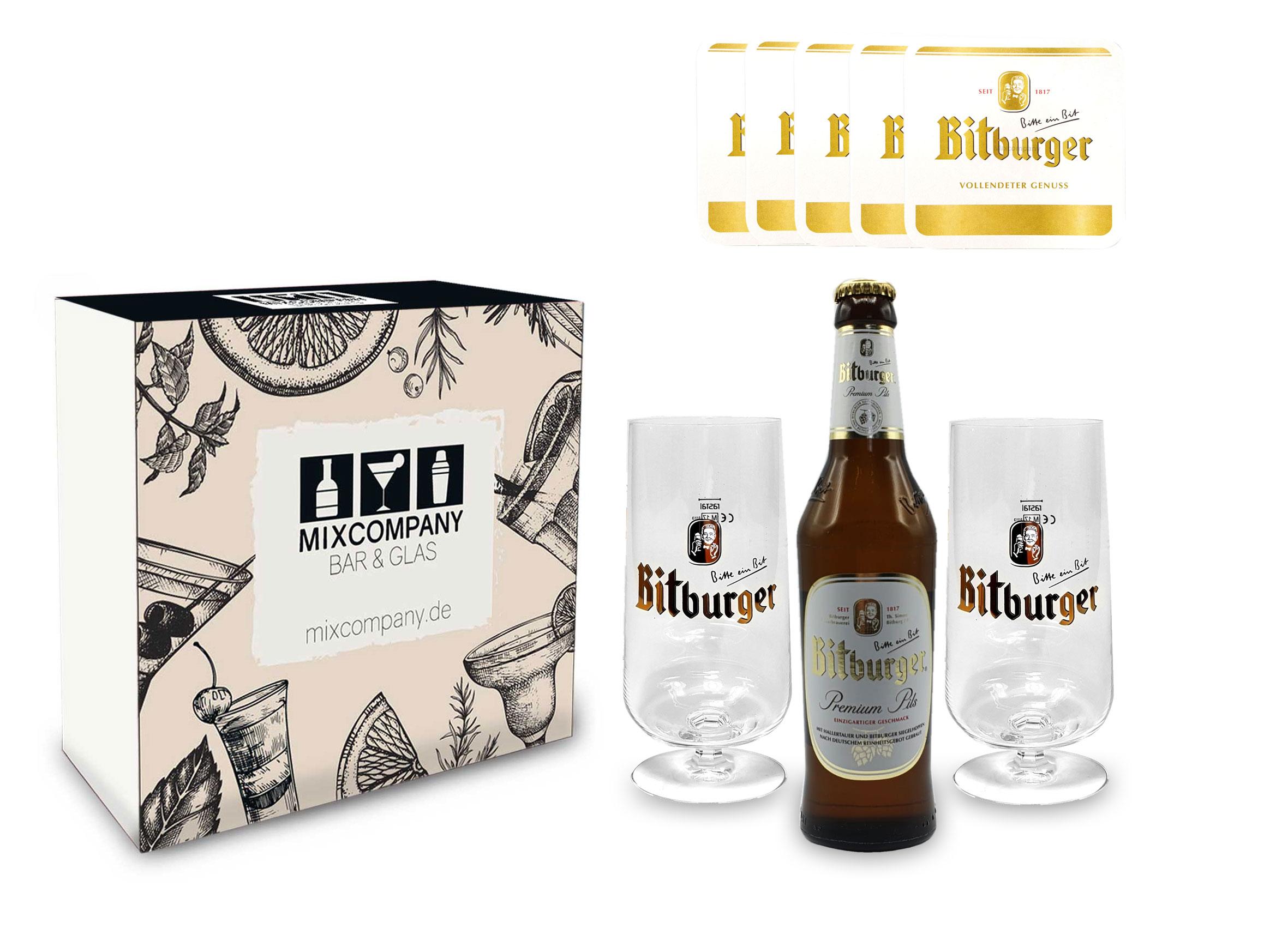 Bitburger Pils Set / Geschenkset - 1x Bitburger Premium Pils 500ml (4,8% Vol) + 2x Bitburger Gläser + 10x Bitburger Bierdeckel - Inkl. Pfand MEHRWEG