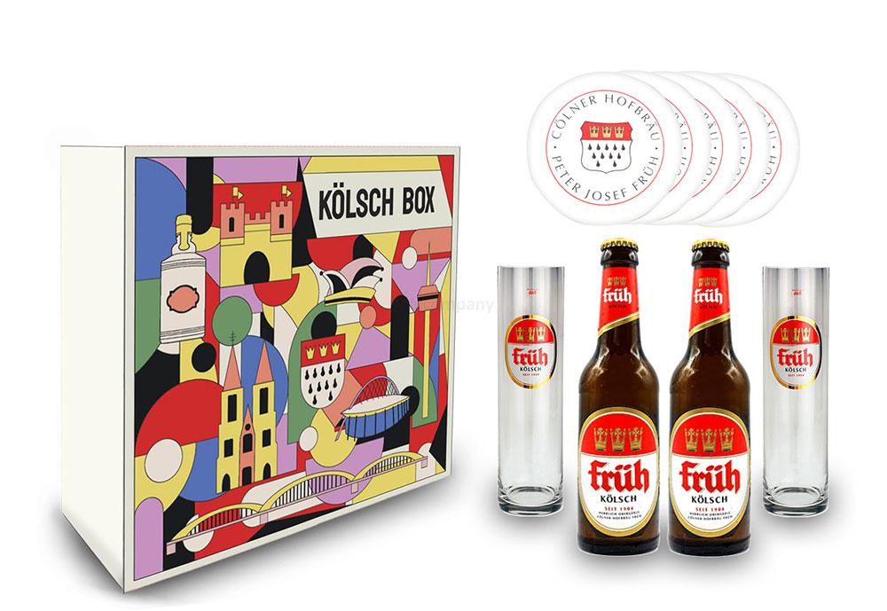 Früh Kölsch Schuber Geschenkset - 2x Früh Kölsch 330ml (4,8% Vol) + 2x Früh Gläser + 10x Früh Bierdeckel - Inkl. Pfand MEHRWEG