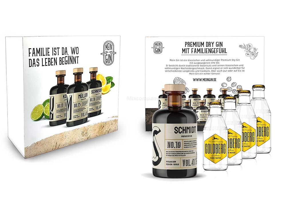 Mein Gin + Tonic Giftbox Geschenkset - Schmidt Premium Dry Gin 0,5l (41% Vol) - Schmidt s Gin No.19 + 4x Goldberg Tonic Water 200ml inkl. Pfand MEHRWEG -[Enthält Sulfite]