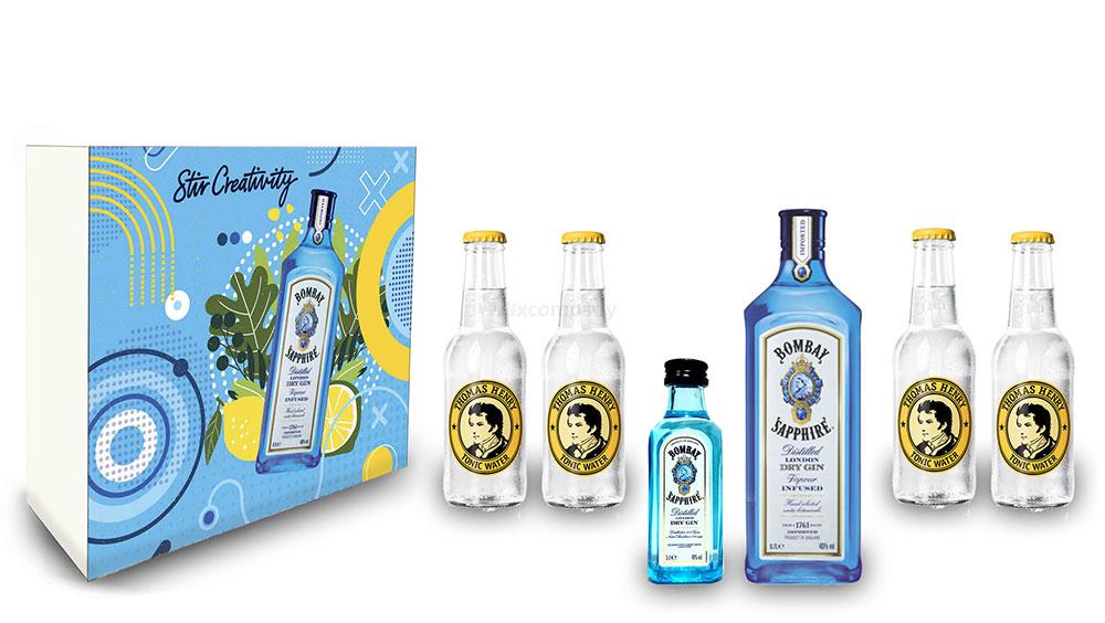 Bombay Sapphire Gin Tonic Set / Geschenkset - Bombay Sapphire London Dry Gin 0,7l 700ml + 50ml (40% Vol.) + 4x Thomas Henry Tonic Water 200ml - Inkl. Pfand MEHRWEG