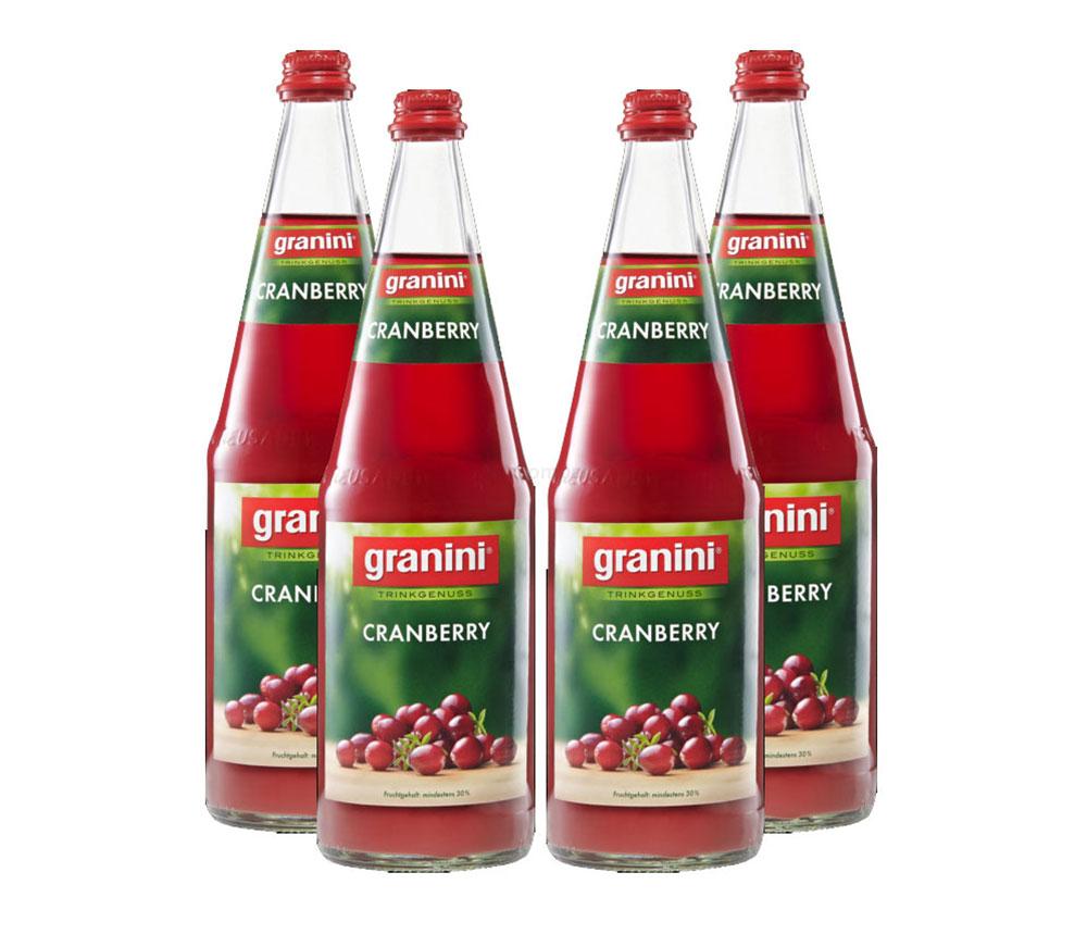 Granini Cranberry Saft - 4er Set Granini Trinkgenuss - 4x Cranberry 1L Saft inkl. Pfand MEHRWEG