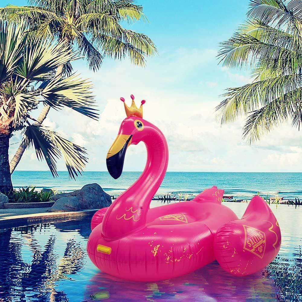 Salitos Flamingo Aufblasbare Badeinsel Luftmatte Luftmatratze pink - 218 x 211cm