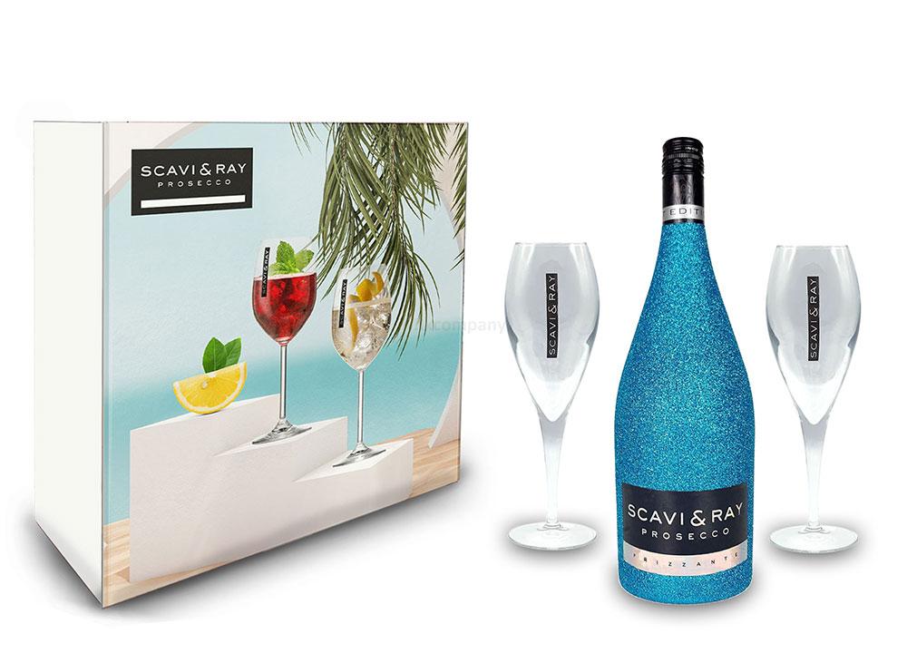 Scavi & Ray Bling Bling Blau Glitzer Giftbox Geschenkset - Scavi & Ray Prosecco Frizzante 0,75l (10% Vol) + 2x Prosecco Gläser -[Enthält Sulfite]