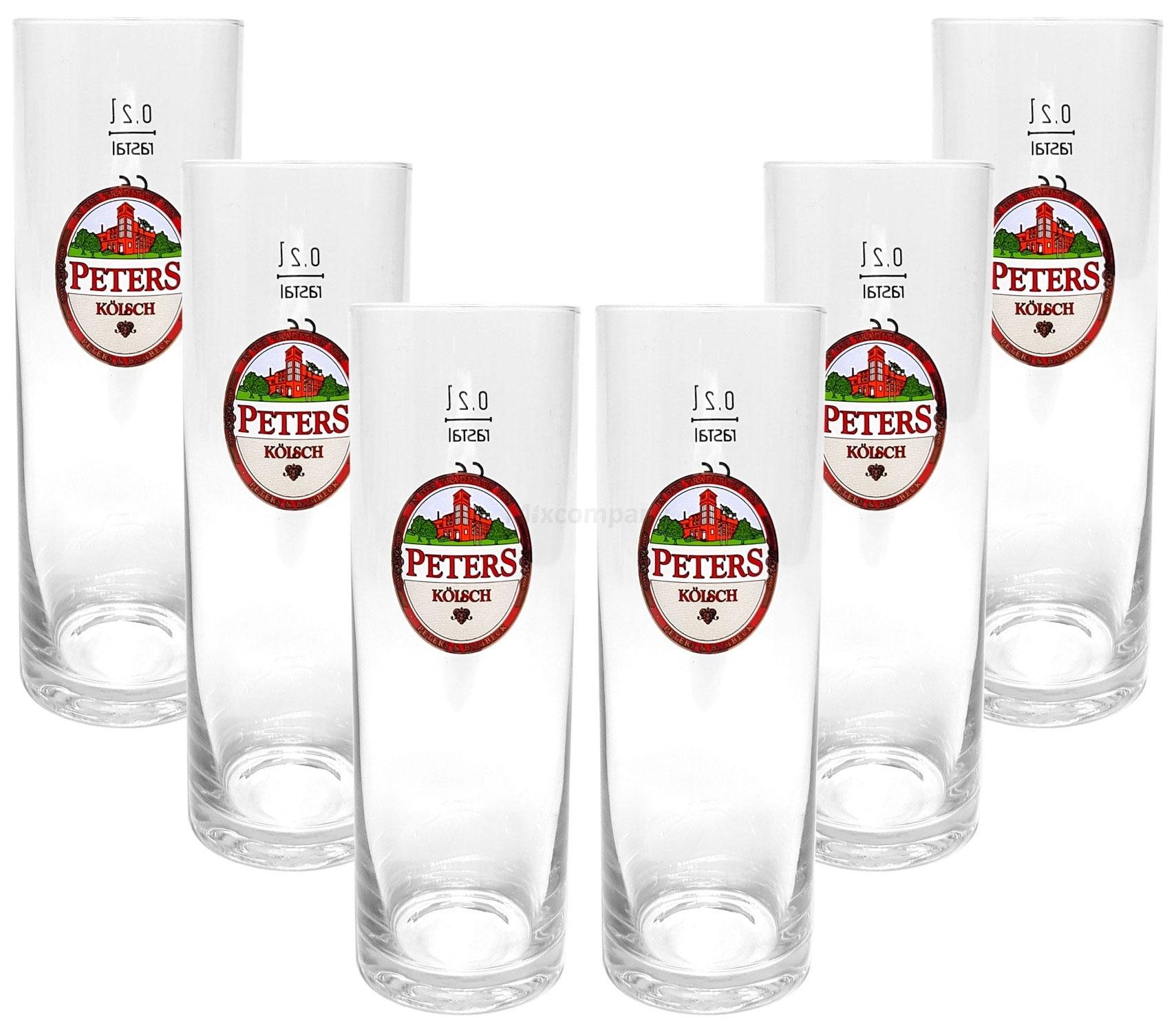 Peters Kölsch Stangen Bierglas Glas Gläser-Set - 6x Stangen 0,2l