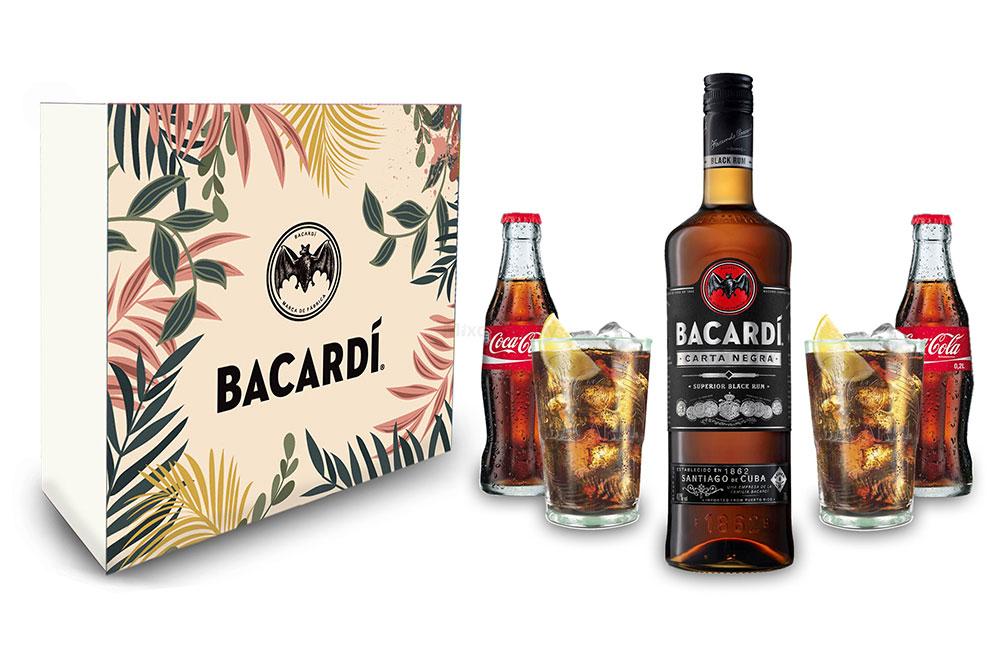 Bacardi Geschenkset - Gläser / Cola / Bacardi Carta Negra Rum 0,7l 700ml (40% Vol) + 2er Set Gläser + 2x Coca Cola 0,2L Inkl. Pfand MEHRWEG- [Enthält Sulfite]