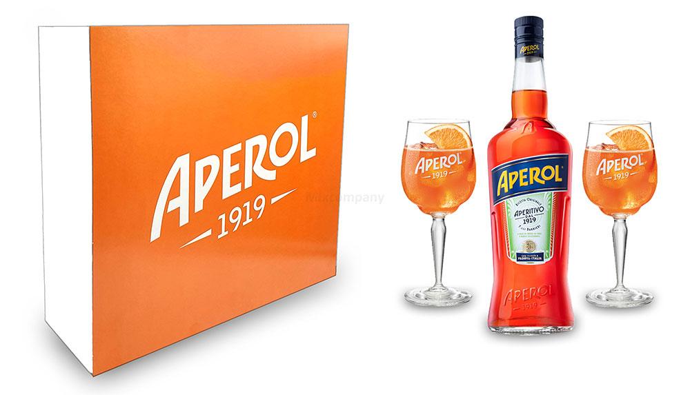 Aperol Geschenkset - Aperol Aperitivo Italiano 1L (11% Vol) + 2x Aperol 1919 Kunststoffgläser Gläser / Glas aus Kunststoff + Giftbox - [Enthält Sulfite]