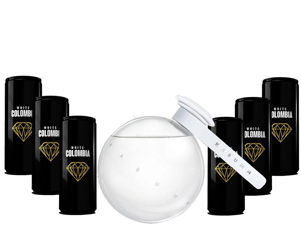 Kabumm Premium Gin 0,7l 700ml (40% Vol) + White Colombia Classic Set - Erfrischungsgetränk - 6x 250ml inkl. Pfand EINWEG- [Enthält Sulfite]