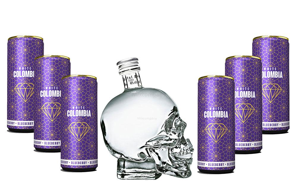 Crystal Head Vodka 700ml (40% Vol) + White Colombia Blueberry Set - Erfrischungsgetränk mit Blueberry Geschmack - 6x 250ml inkl. Pfand EINWEG- [Enthält Sulfite]