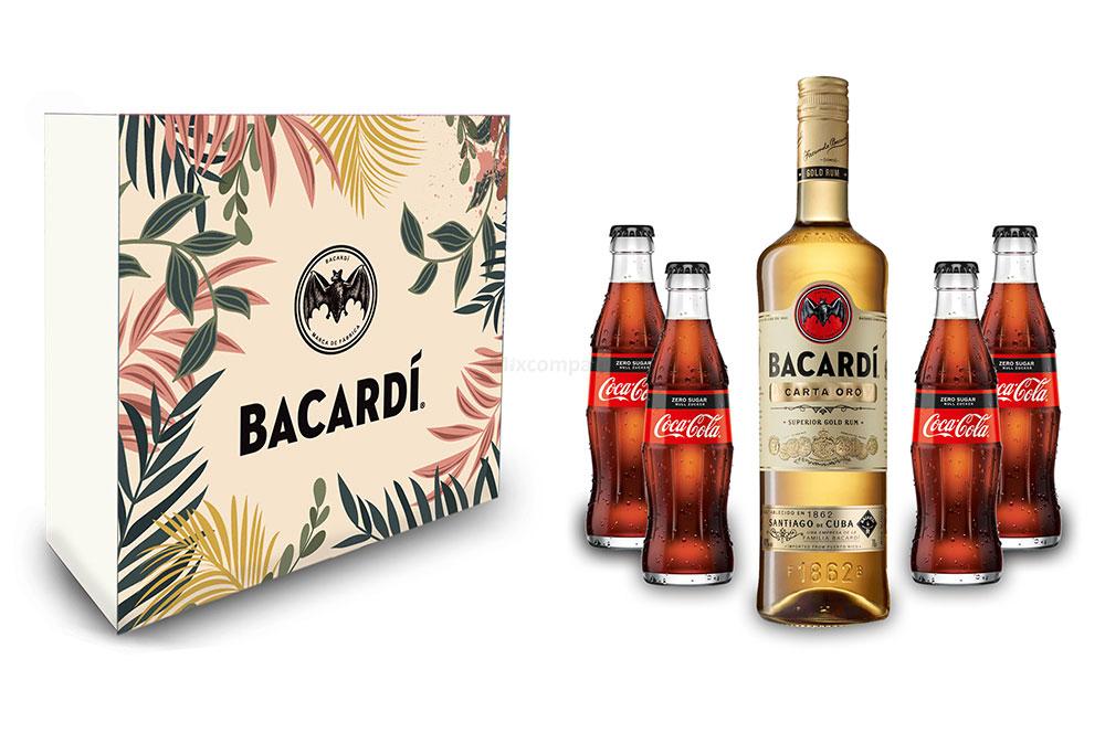 Bacardi Geschenkset - Bacardi Carta Oro Gold Rum 0,7l (40% Vol) + 4x Cola ZERO 0,2L Inkl. Pfand MEHRWEG- [Enthält Sulfite]