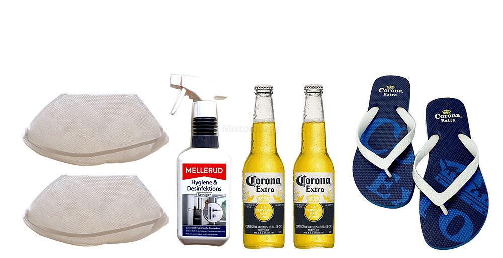 Corona Set - Corona Extra Mexikanisches Bier inkl. Pfand - 2x 355ml (4,5% Vol) -[Enthält Sulfite] - Inkl. Pfand MEHRWEG + Flip Flop Größe 39 + 2x Mundschutz + Desinfektionsmittel