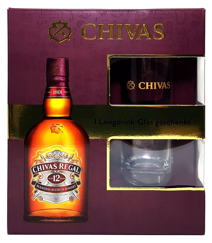 Chivas Regal Geschenkbox - Chivas Regal 12 Jahre Scotch Whisky 0,7l 700ml (40% Vol) + Longdrink-Glas 2/4cl geeicht -[Enthält Sulfite]