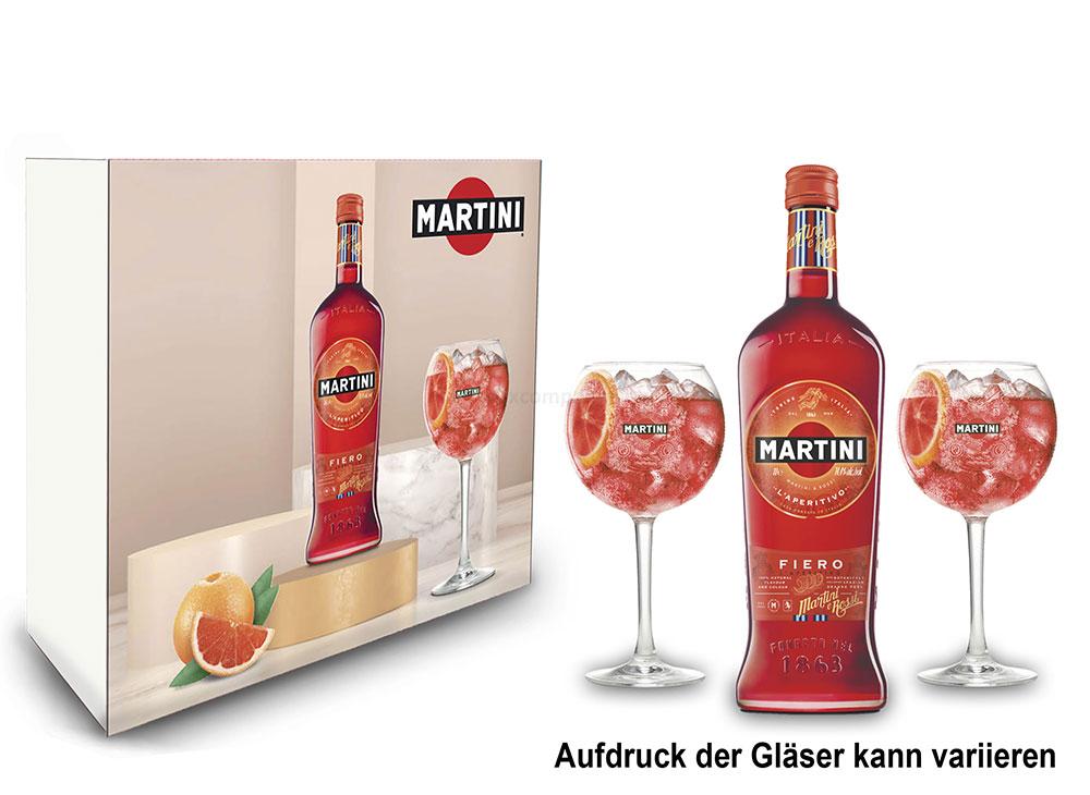 Martini Fiero Schuber Geschenkset Wermut 1L (14,4% Vol) + Martini Royale Ballon Cocktail Glas Set - 2x Gläser 47cl - [Enthält Sulfite]