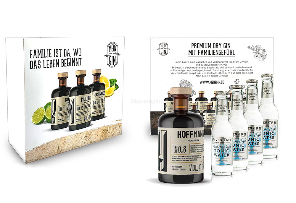 Mein Gin + Tonic Giftbox Geschenkset - Hoffmann Premium Dry Gin 0,5l (41% Vol) - Hoffmann s Gin No.8 + 4x Fever-Tree Naturally Light Tonic Water 200ml inkl. Pfand MEHRWEG -[Enthält Sulfite]