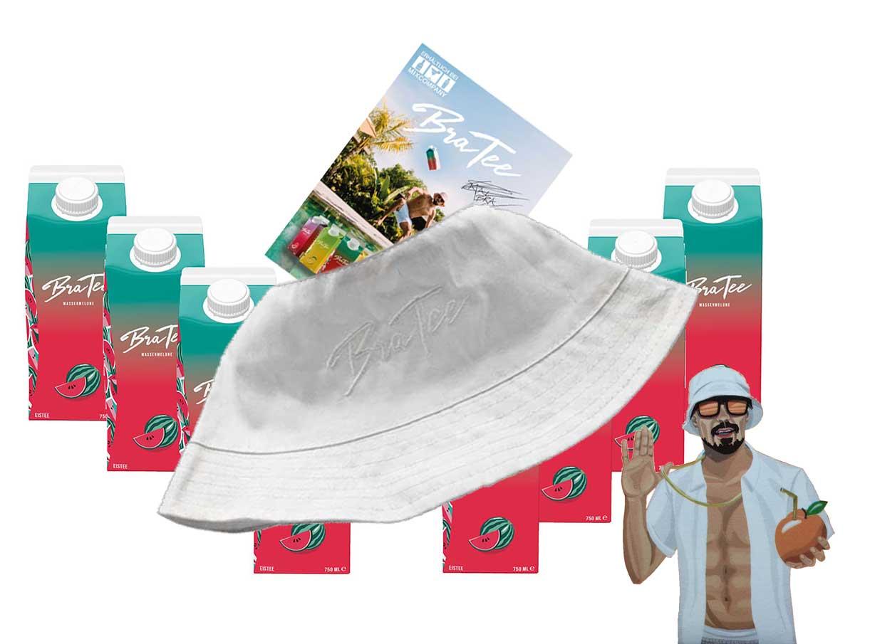 Capital BraTee 8er Set Eistee Wassermelone water melon 750ml mit Autogrammkarte und Hut BRATEE Ice tea - Heftig fruchtiger BraTee mit Wassermelonengeschmack - nicht zu süß, genau perfekt
