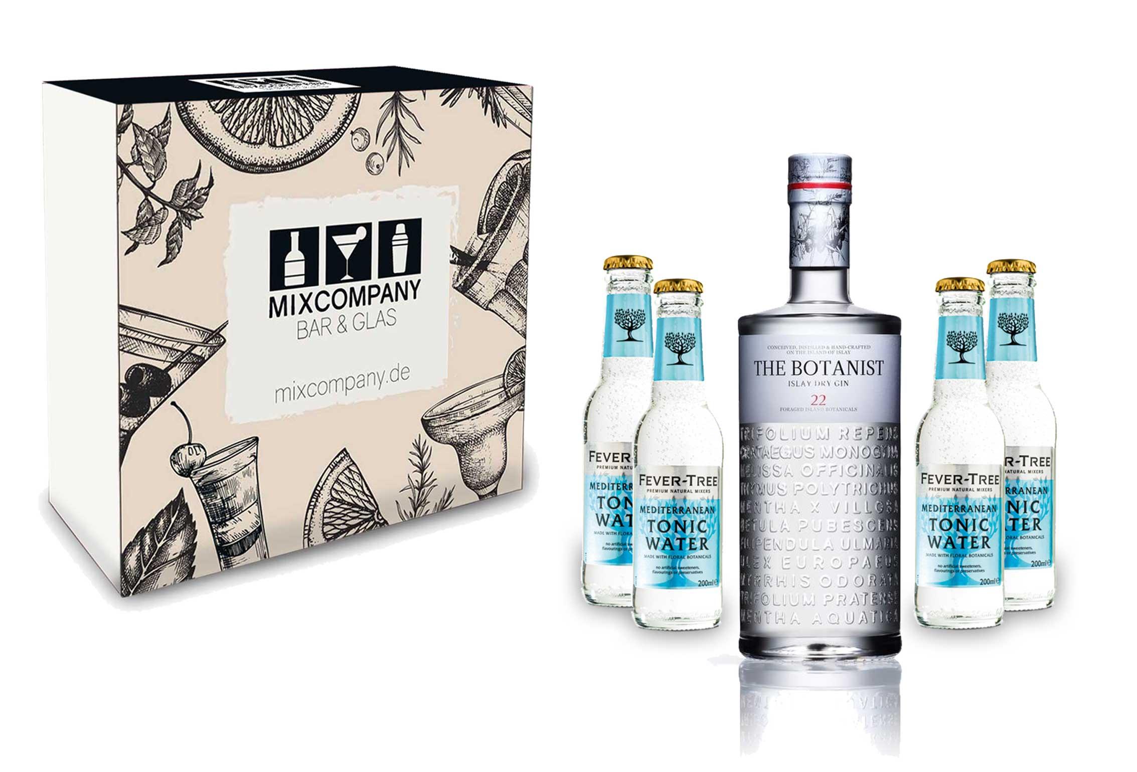 Gin Tonic Giftbox Geschenkset - The Botanist Islay Dry Gin 0,7l 700ml (46% Vol) + 4x Fever Tree Mediterranean Tonic Water 200ml inkl. Pfand MEHRWEG + Geschenkverpackung